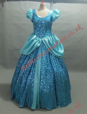 PLUS SIZE Disney Princess Cinderella DRESS Blue Sequins Costume adult SIZE 18-28