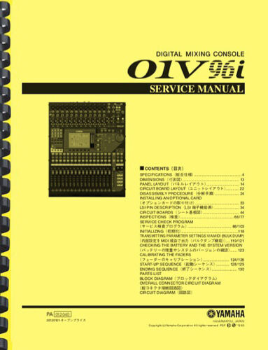 Yamaha 01V96i Digital Mixing Console SERVICE MANUAL