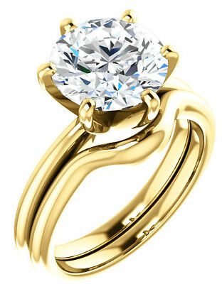 GIA 3.01 ct Round Diamond Engagement Solitaire 14k Yellow Gold Ring G color SI2