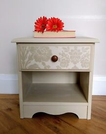 Cream bedside table with drawer (Laura Ashley/Annie Sloan products)