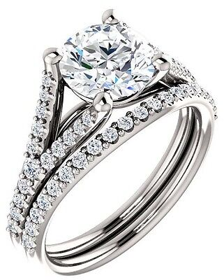 1.00 carat Round cut Diamond 14k White Gold Solitaire accented Ring GIA I SI2