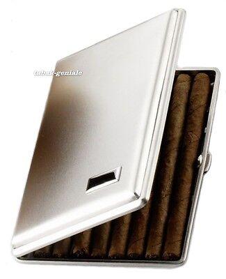 Zigarrenetui Metall nickelfarben satiniert für 5 Zigarren kleine Corona bis13cm