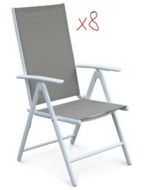 Naevia: 8 Garden Chairs- White/Beige-Brown *BRAND NEW*