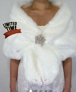 Faux fur stole's (3) with snowflake pins