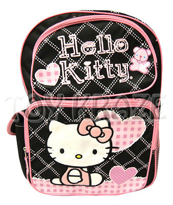 HELLO KITTY BACKPACK! BLACK & WHITE STITCH w/ PINK BEAR SCHOOL BAG SANRIO 16