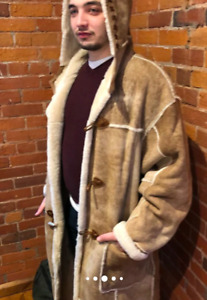 Men's Full Length Shearling And Suede Coat