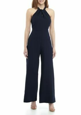Julia Jordan Halter Twist Neck Jumpsuit Navy Size 6