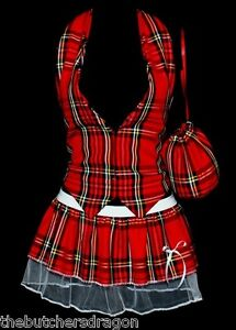 Size-8-14-Red-Tartan-Scottish-Commonwealth-Games-Waistcoat-Pleated-Tutu-Pouch-WT