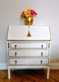 White and gold gilded Vintage Annie Sloan Bureau Writing Desk with Lock & Key