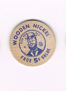 Vintage-Wooden-Nickel-Washington-Indiana-Sesquincentennial-1966-Fun-For-All