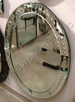 "Venetian Frameless Wall Mirror 34"" Oval Beveled Bathroom Paris Chic Victoria New"