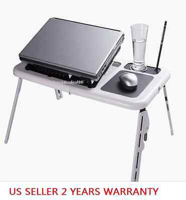 H34 E-Table Foldable Laptop Tray Desk W/Cooling Fan Tablet Desk Bed Sofa Couch