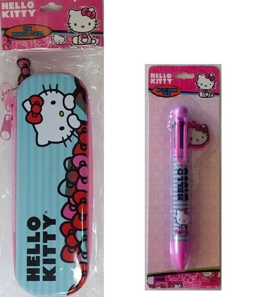 New Sanrio Hello Kitty Tin Pencil Case & 6 Color Multi Ink Pen with Charm Set