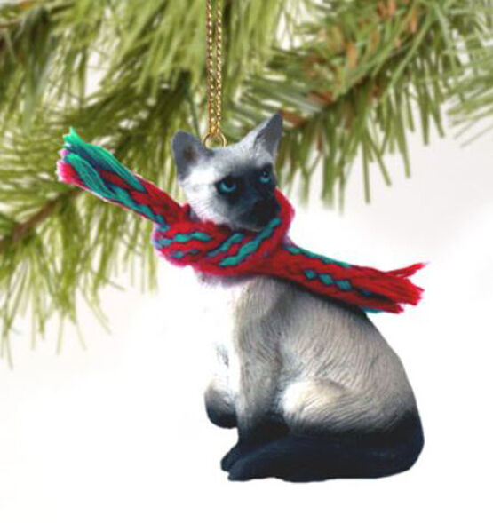 SIAMESE CAT CHRISTMAS ORNAMENT HOLIDAY Figurine kitten gift scarf