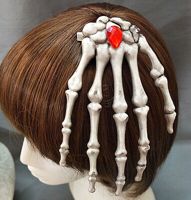 Steampunk Hair Clip Gothic Devil Rave Cosplay Girl Brooch Hand Bones Hairpin New