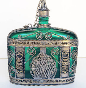 Vintage Emerald Green Glass Bottle Wrapped in Silver Metal Filig