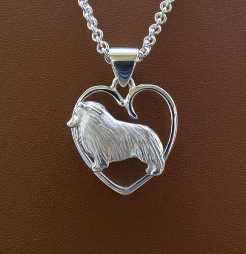 Sterling Silver Sheltie/Sheepdog Standing Study On A Heart Frame Pendant