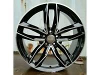 "LATEST 19"" AUDI RS6 BLACK EDITION STYLE ALLOY WHEELS X4 BOXED 5X112 A4 A5 A6 A7 A8 TT VW BARGAIN"