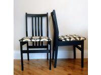 Pair of contemporary Black dining chairs with Orla Kiely mono multi stem fabric