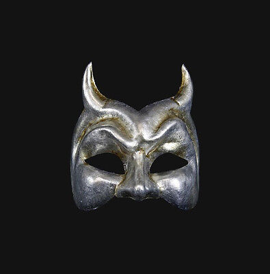Mask from Venice Devil Diavolo Silver Authentic Paper Mash Venetian 366