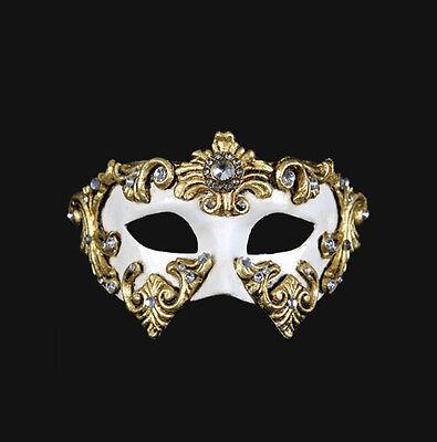 Mask from Venice Colombine Barocco White off Authentic in Paper Mache 199