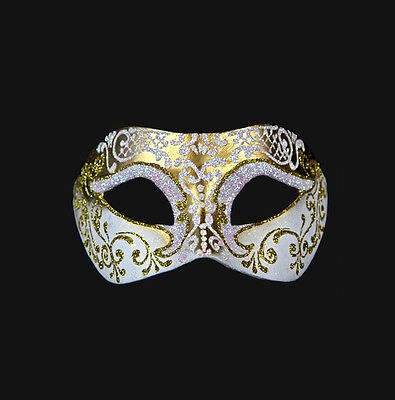 Mask from Venice Colombine White and Golden Authentic Paper Mache 145