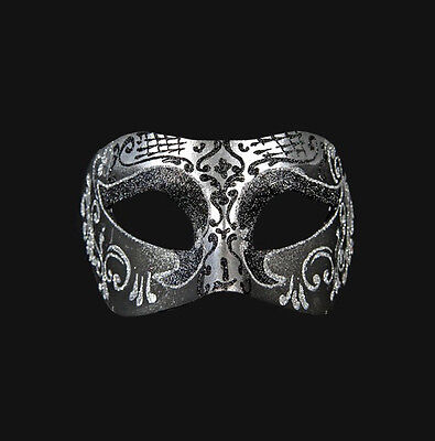Mask Venice Wolf Colombine Black Silver Authentic Paper Mache 207