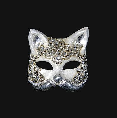 Mask from Venice Gatto Macrame Cat Silver Authentic in Paper Mache 195