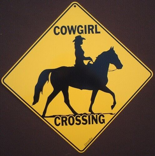 COWGIRL CROSSING Sign 16 1/2 by 16 1/2 NEW  picture horses decor home FARM ART