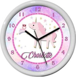 Personalized Unicorn Shooting Star Wall Clock Nursery Kids Room Decor Gift
