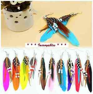 Boucles d'oreilles de plumes - plusieurs couleurs, $5 = 2paires Québec City Québec image 1