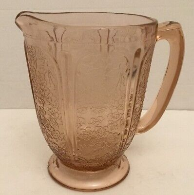 Vintage Pink Depression Glass Pitcher 6 1 2  Tall