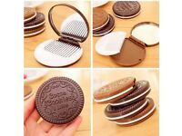 Chocolate biscuit hand mirror *BRAND NEW 1 pc
