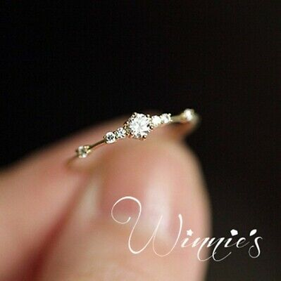14k gold 7 tiny diamond pieces of exquisite small fresh ladies engagement (Rings Ladies 14k Ring)