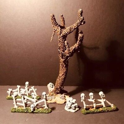 Lemax Spooky Town Old Mossy Tombstone Tree 3 Piece Bone Fence 1 Piece Pile Bones (Old Town Halloween)