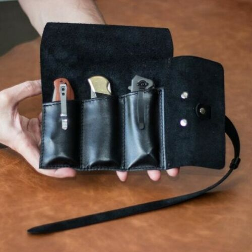 Leather pocket knife roll, pocket knife holder, Pocket knife pouch, knife sheath