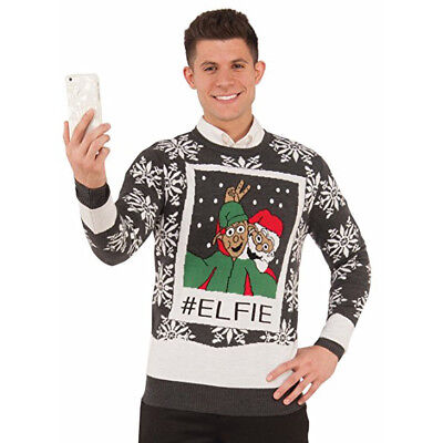 Elfen Selfie Elfie Ugly Lustige Weihnachten Urlaub Party Pullover - Lustige Weihnachts Party Kostüm