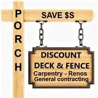 SAVE ON CARPENTRY/DECKS/FENCES & MORE* INCLUSIVE PRICE!