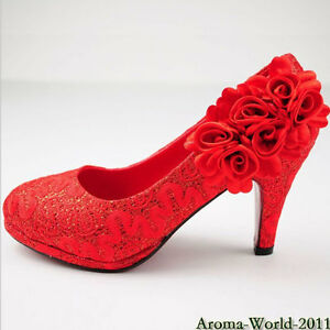 Red Weding Shoes Low Hel 020 - Red Weding Shoes Low Hel