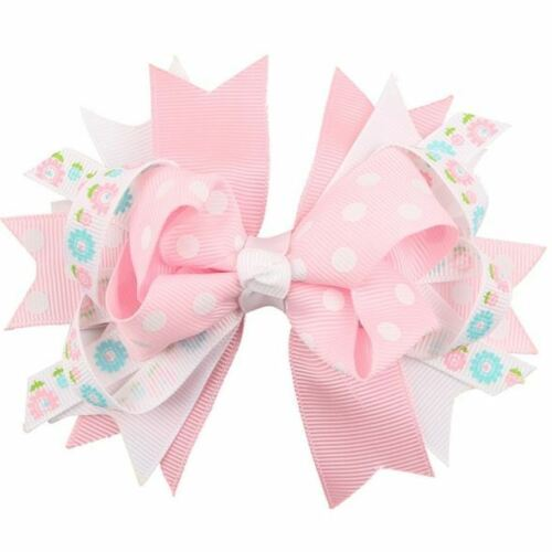 Beautiful Cloth Hair Bow Accessories– Pink & White with Flowers. Free Shipping
