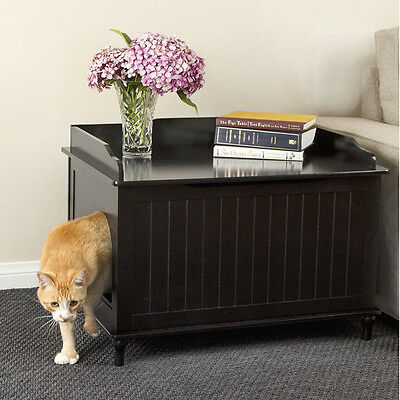 DESIGNER Pet LITTER BOX Enclosure COVER Table STAND Cat HOUSE Dog Crate BLACK