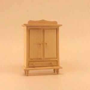Unfinished Wood Pine Wardrobe Armoire Dresser (dollhouse Miniature Furniture )