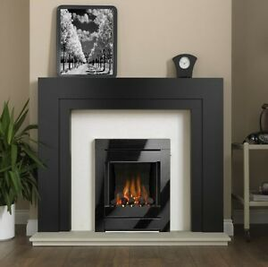GAS FIRE BLACK MODERN INSET COAL OPEN FRONTED GLASS FRAME LIVING FLAME FIREPLACE