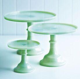 Green mosser milk glass cake stand