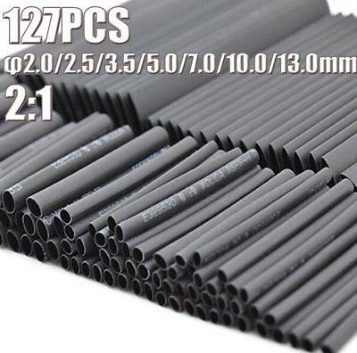 127pcs Black 7 Sizes 21 Electronic Heat Shrink Tubing Tube Sleeve Wrap Wire