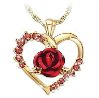 Ladies Gold-plated Heart-shaped Red Zircon Rose Pendant Chains Romantic Necklace Gold Ruby Heart Necklace