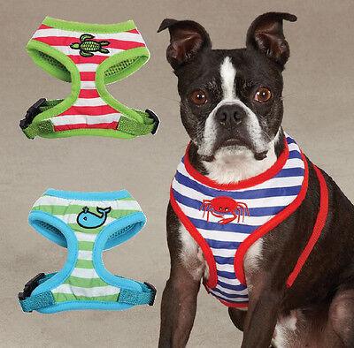 Soft Fabric Beachcomber Dog Harness Striped Mesh Harnesses Zack & Zoey Nautical