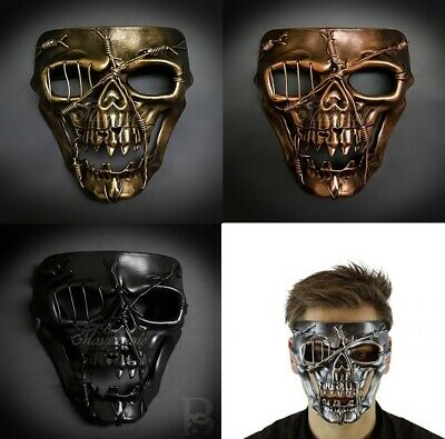 Painted Skull Faces For Halloween (Steampunk Masquerade Mask Full Face Skull Halloween Costume Mask for)