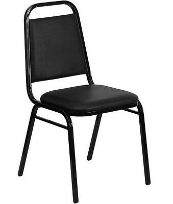 NEW Black Vinyl Padded Back & Seat Banquet Stack Chair