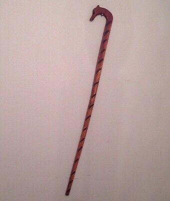 rare GIRAFFE CANE walking STICK antique  C.1900's  FOLK ART original nice PATINA